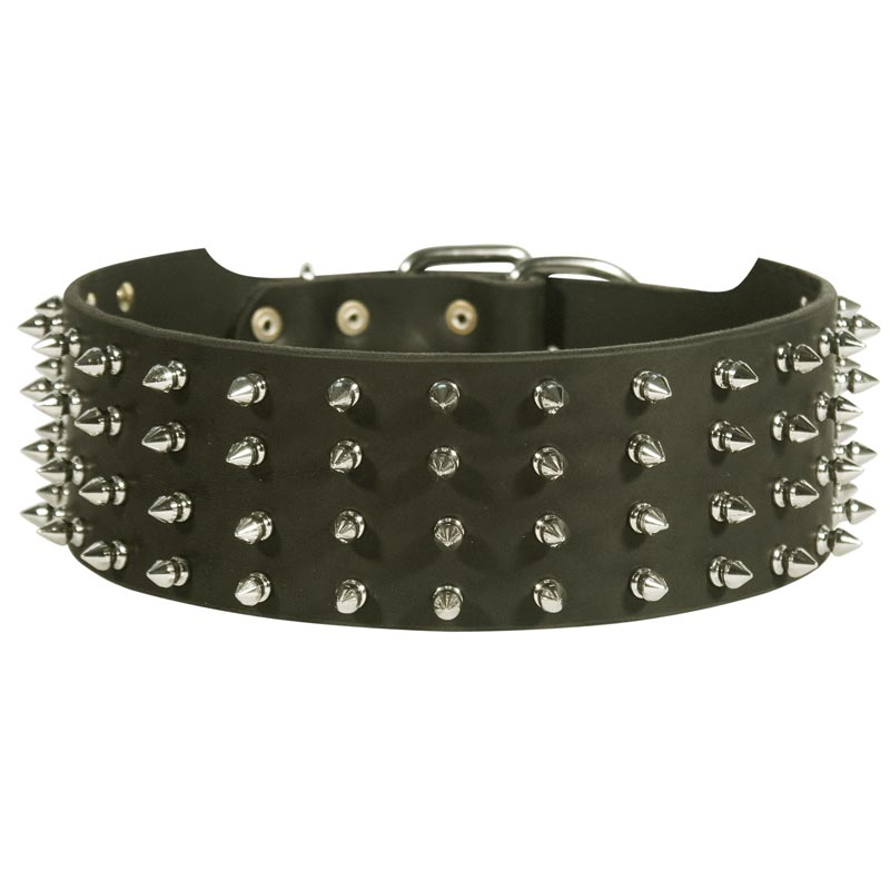 3 Inch Extra Wide Spiked Leather Rottweiler Collar