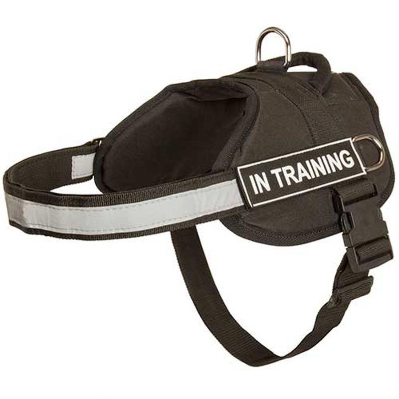 Nylon Rottweiler Harness with Reflective Strap for Training, Walking and Tracking
