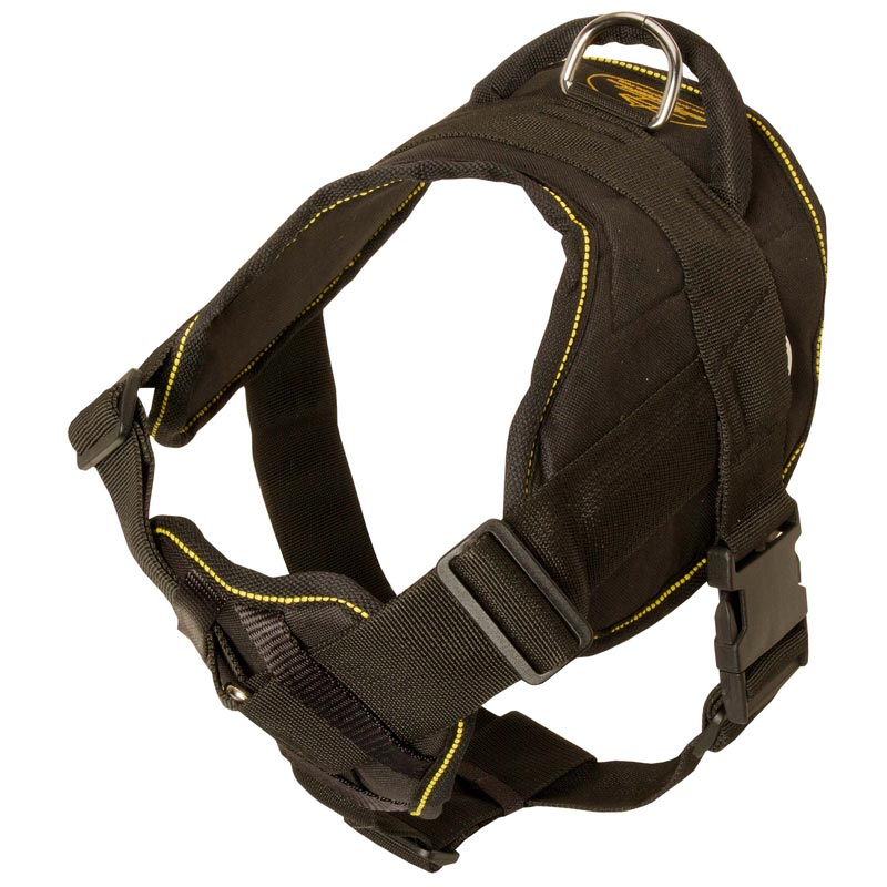 Unique Design Nylon Rottweiler Harness for Walking, Training and Exercising